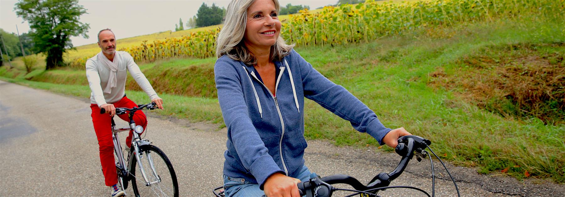Jen + Peter riding bikes